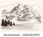pencil drawing mountain... | Shutterstock .eps vector #1064362955