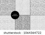 scribble patterns set. doodles... | Shutterstock .eps vector #1064364722