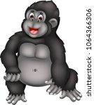 funny gorilla cartoon standing...   Shutterstock .eps vector #1064366306