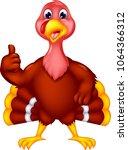 cute turkey cartoon standing...   Shutterstock .eps vector #1064366312