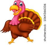 funny turkey cartoon standing...   Shutterstock .eps vector #1064366336