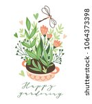 cute vector seasonal greeting... | Shutterstock .eps vector #1064373398