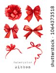 red bow ribbon watercolor paint ... | Shutterstock . vector #1064373518