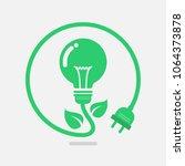 green eco power lightbulb.... | Shutterstock .eps vector #1064373878