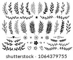set of hand drawn tree branches ... | Shutterstock .eps vector #1064379755