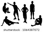 vector silhouettes of teenagers ... | Shutterstock .eps vector #1064387072
