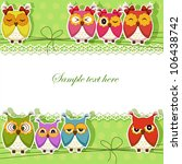 Holiday Card With Colorful Owls