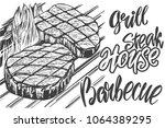 food meat  steak  roast grilled ... | Shutterstock .eps vector #1064389295