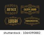 vintage swirl retro ornament... | Shutterstock .eps vector #1064390882