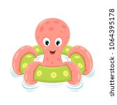 pink octopus on green...   Shutterstock . vector #1064395178