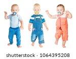 baby sucking pacifier  infant... | Shutterstock . vector #1064395208