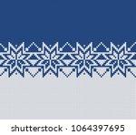 fairisle knitted sweater design ... | Shutterstock .eps vector #1064397695