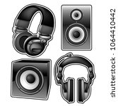 headphones and speakers on a... | Shutterstock .eps vector #1064410442