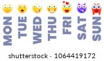 emojis connected to week days.... | Shutterstock .eps vector #1064419172