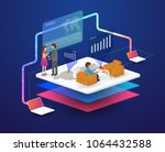 isometric laptop and phone with ... | Shutterstock .eps vector #1064432588