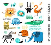 Stock vector vector set of children s drawings exotic animals and plants doodle style ideal for childs 1064433266