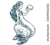 beautiful young mermaid with... | Shutterstock .eps vector #1064436332