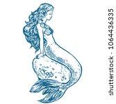 beautiful young mermaid sitting ...   Shutterstock .eps vector #1064436335