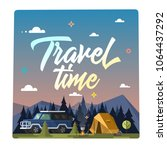 travel time. colorful... | Shutterstock . vector #1064437292