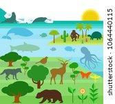 illustration concept of animals ... | Shutterstock .eps vector #1064440115