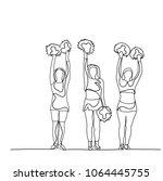 vector  icon  sketch girls... | Shutterstock .eps vector #1064445755