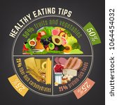 healthy eating plate.... | Shutterstock .eps vector #1064454032