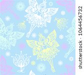 seamless pattern of fairies and ... | Shutterstock .eps vector #1064456732