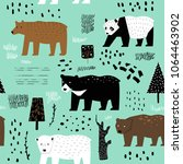 seamless pattern with cute... | Shutterstock .eps vector #1064463902
