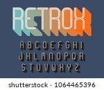 retro styled alphabet with long ... | Shutterstock .eps vector #1064465396