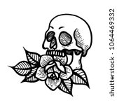 old school rose tattoo with... | Shutterstock .eps vector #1064469332