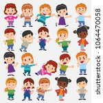 cartoon character boys and... | Shutterstock .eps vector #1064470058