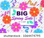 spring sale banner with... | Shutterstock .eps vector #1064474795