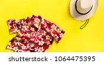 straw man's hat. songkran... | Shutterstock . vector #1064475395