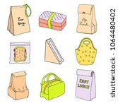 lunch boxes and lunch bags set. ... | Shutterstock .eps vector #1064480402