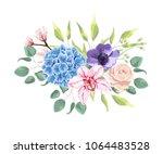 blue hydrangea  powder rose ... | Shutterstock .eps vector #1064483528