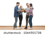 the four happy people hold...   Shutterstock . vector #1064501738