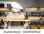 baker in the bakery. tasty... | Shutterstock . vector #1064520422