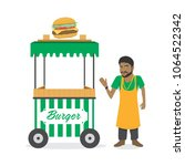 food carts with sellers vector... | Shutterstock .eps vector #1064522342