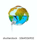 save water save earth concept.... | Shutterstock . vector #1064526932