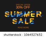 paper cut layout sale concept.... | Shutterstock .eps vector #1064527652