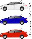 set of realistic sedan car ... | Shutterstock .eps vector #1064542472