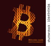 bitcoin sign on dark background.... | Shutterstock .eps vector #1064545436