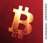 bitcoin sign on dark red... | Shutterstock .eps vector #1064545442
