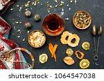 azerbaijani black tea in armudu ... | Shutterstock . vector #1064547038