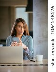 young business woman on the...   Shutterstock . vector #1064548526