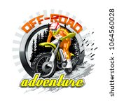 extreme red off road motorbike  ... | Shutterstock .eps vector #1064560028