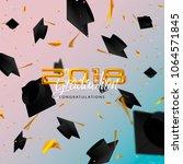 graduate caps and confetti on a ... | Shutterstock . vector #1064571845