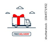 free delivery line icon. thin... | Shutterstock .eps vector #1064571932