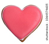 Red Gingerbread As Heart With...