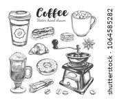 coffee and coffee to go set.... | Shutterstock .eps vector #1064585282